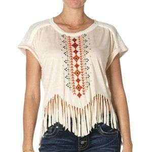 Miss Me Taupe Fringe Top